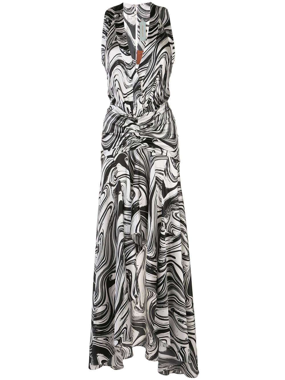 Marble Print Maxi Dress With Front Slit Item # EGLE-DRESS