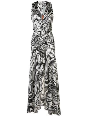 MARBLE PRINT MAXI DRESS WITH FRONT SLIT