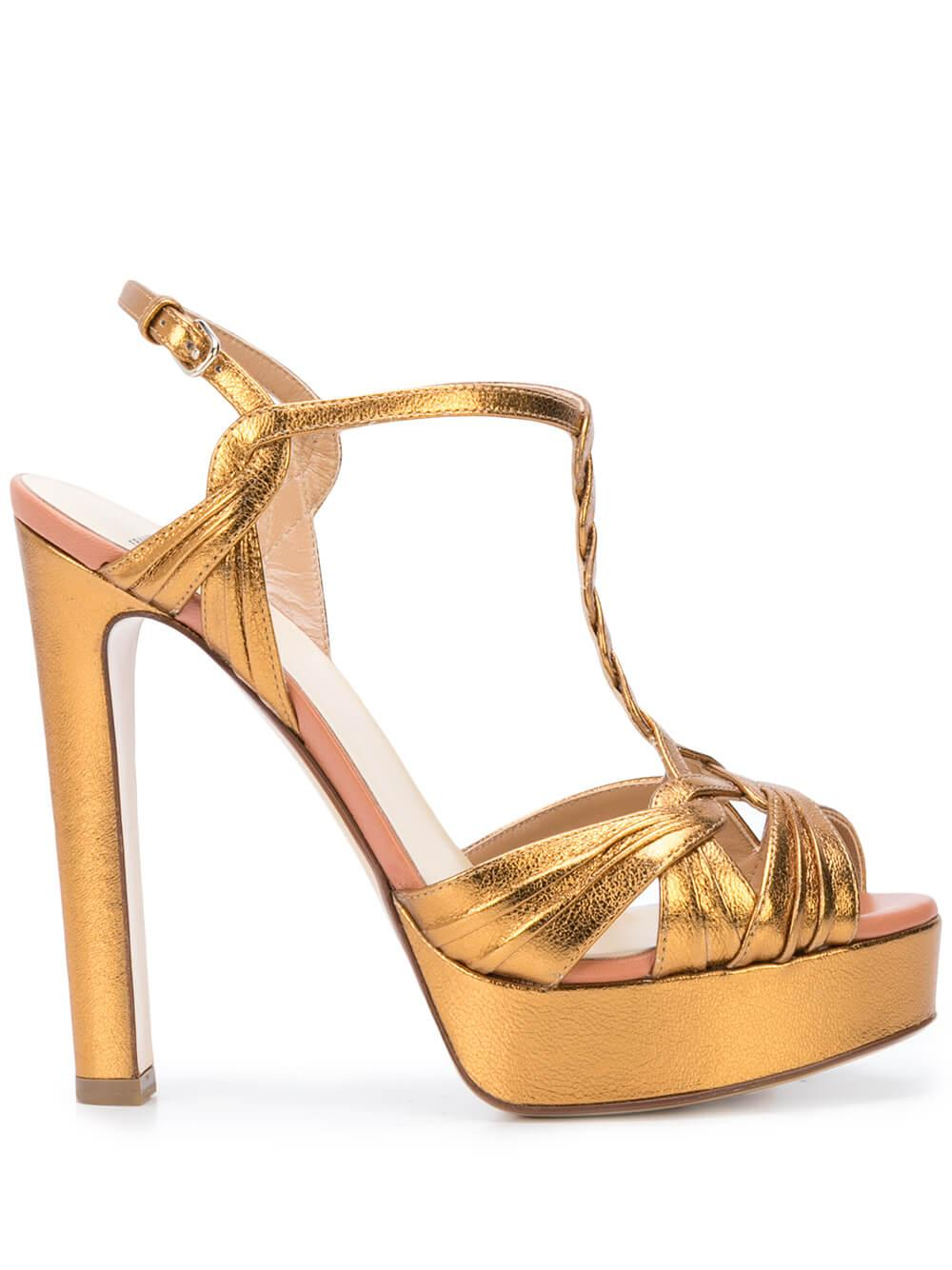 Metallic Laminate 130mm Platform T- Strap Sandal Item # R1S384-211-R20