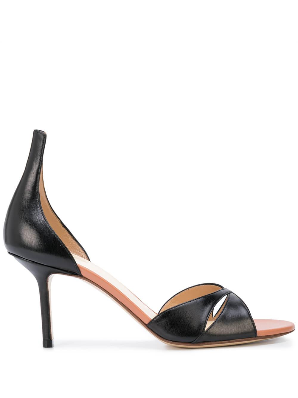 Leather 75mm Criss Cross High Heel Sandal