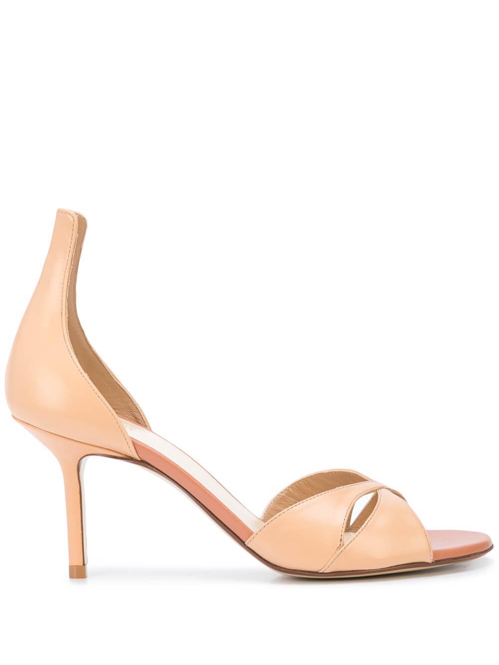 Leather 75mm Criss Cross High Heel Sandal Item # R1S589-200