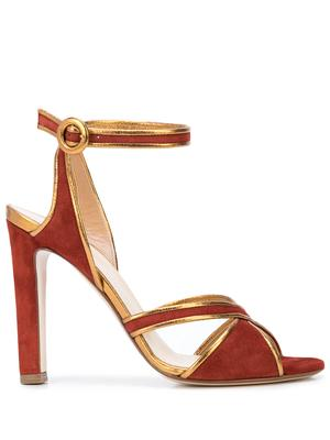 Suede/Leather 105mm Sandal w/ Ankle Stra