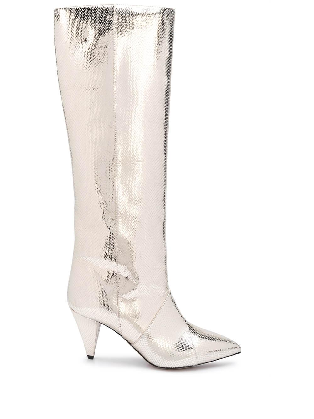 Metallic Tall High Heel Boot Item # LAOMI