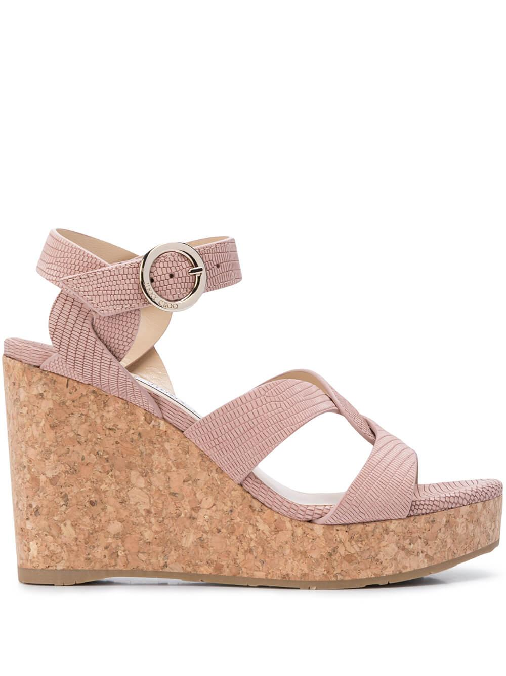 Leather 100mm Wedge Sandal With Ankle Strap Item # ALEILI100-NUL