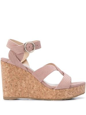 Leather 100mm Wedge Sandal With Ankle Strap