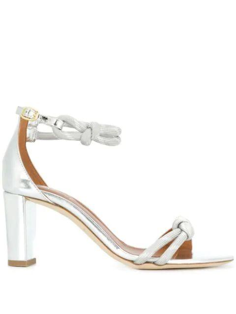 Metallic 70mm Block Heel Sandal with Ankle