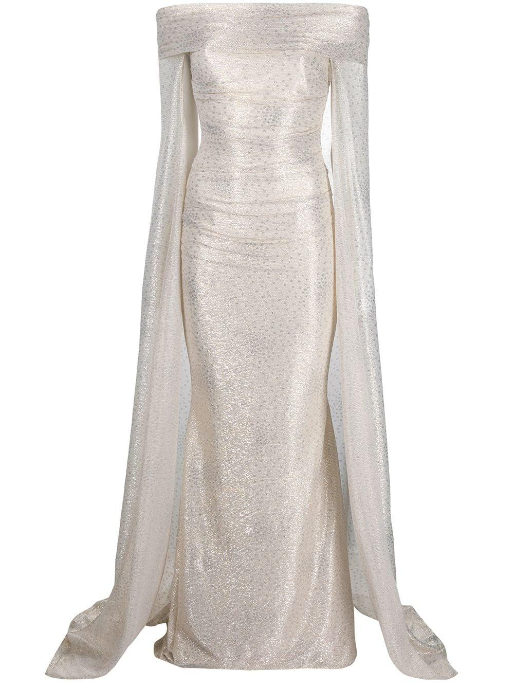 Starburst Metallic Gown With Off Shoulder