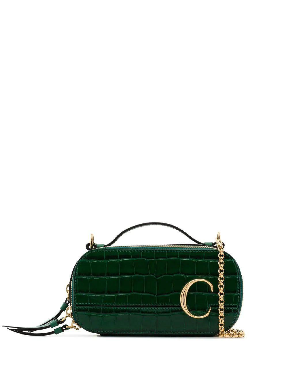 Chloe C Embossed Crocodile Compact Bag Item # CHC20SS225A873H0