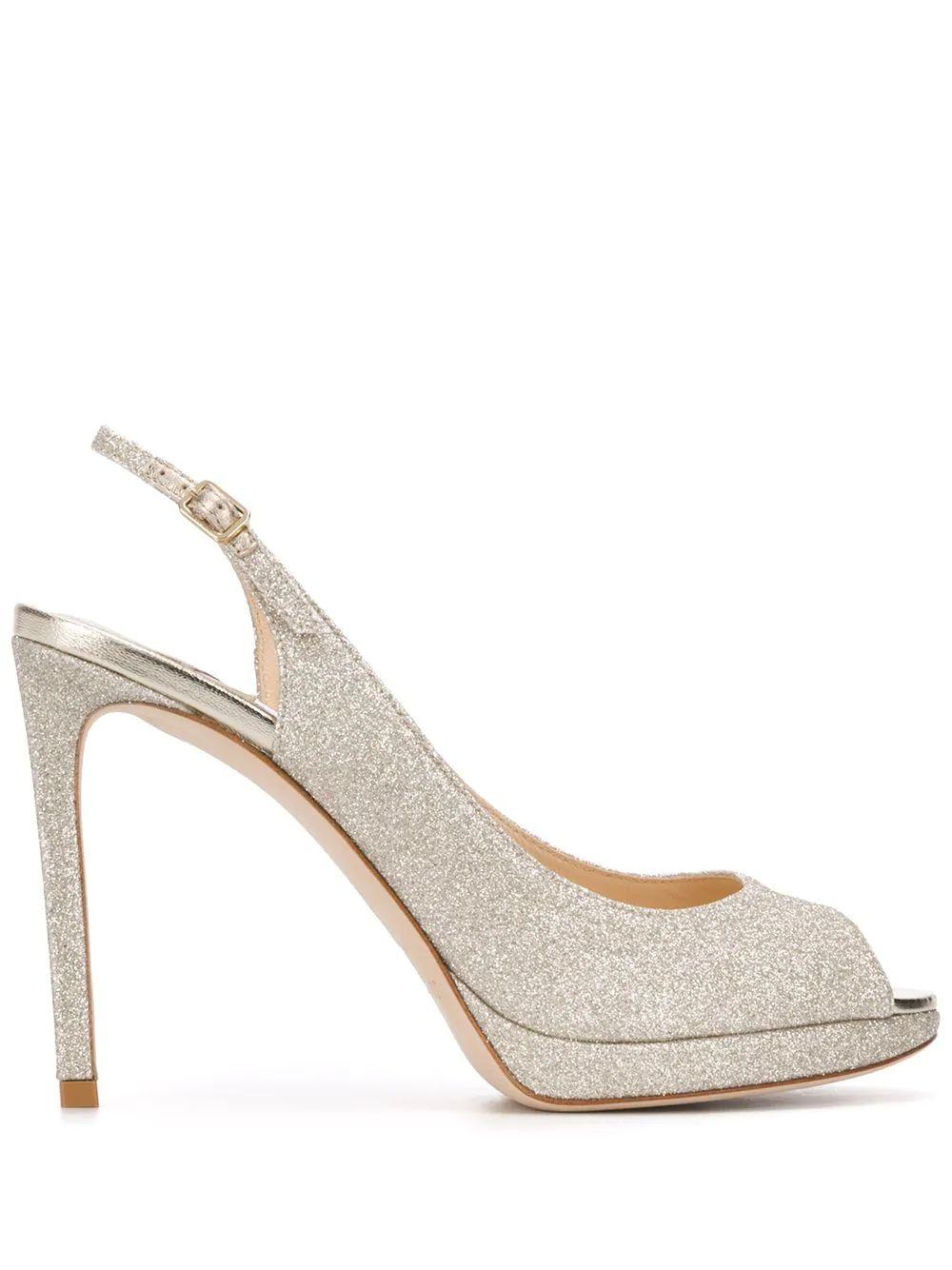 Dusty Glitter 100mm Sling Back Peeptoe