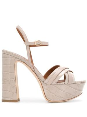 Crocodile Leather 125mm Platform Sandal