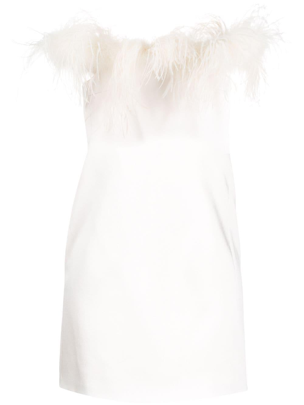 Satin Dress With Feathers Item # 610291Y125W
