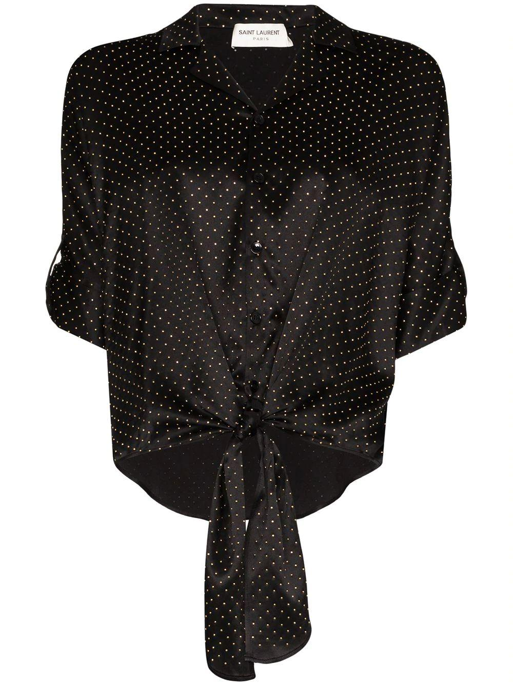 Elbow Sleeve Silk Tie Blouse With Gold Stud