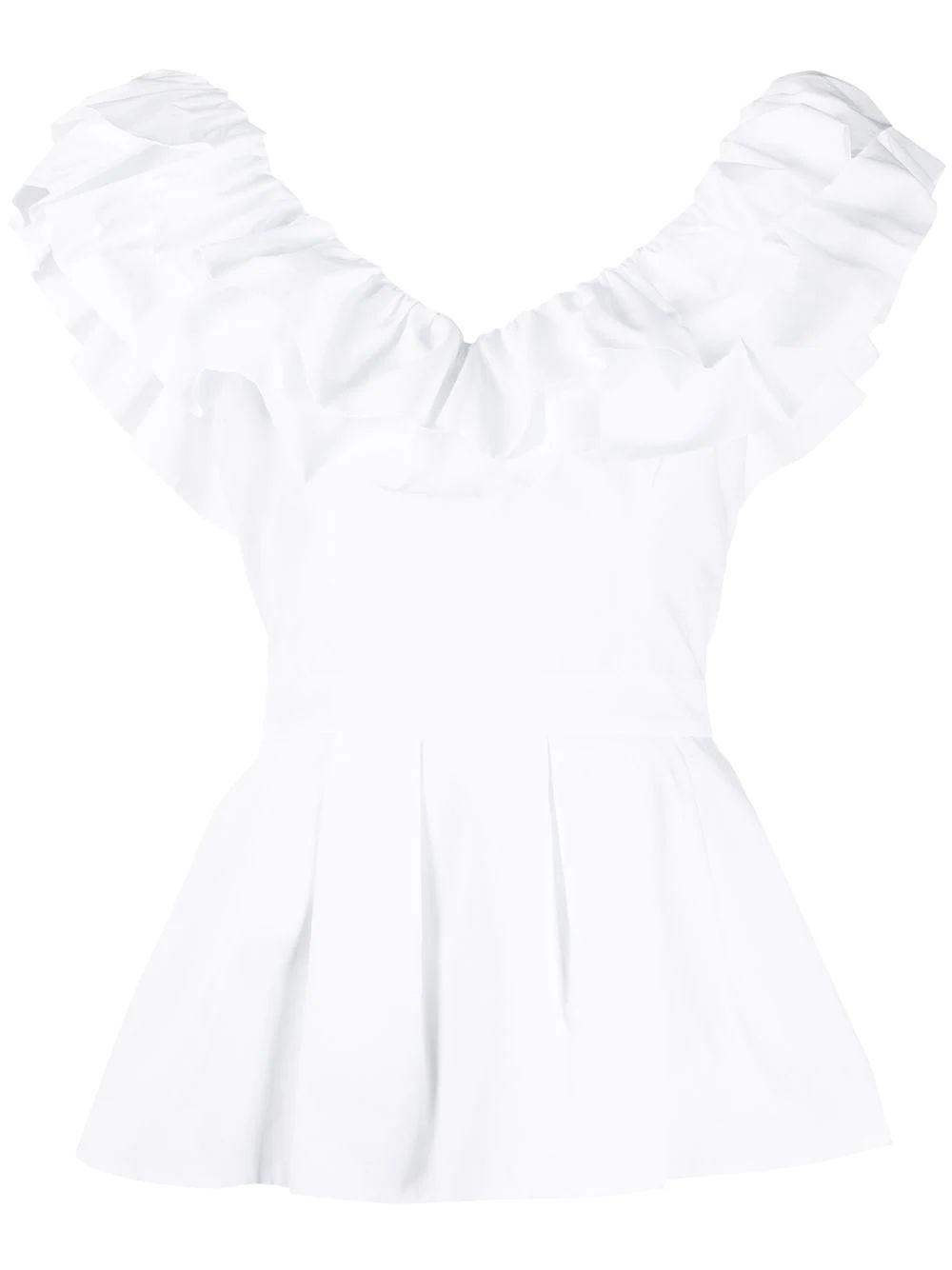 Ruffle Off The Shoulder Cotton Poplin Top