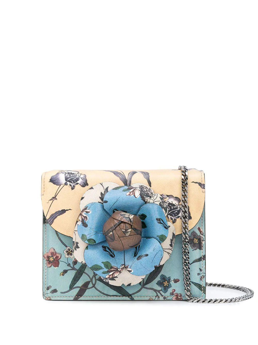 Mini Tor Printed Saffiano Bag With Chain