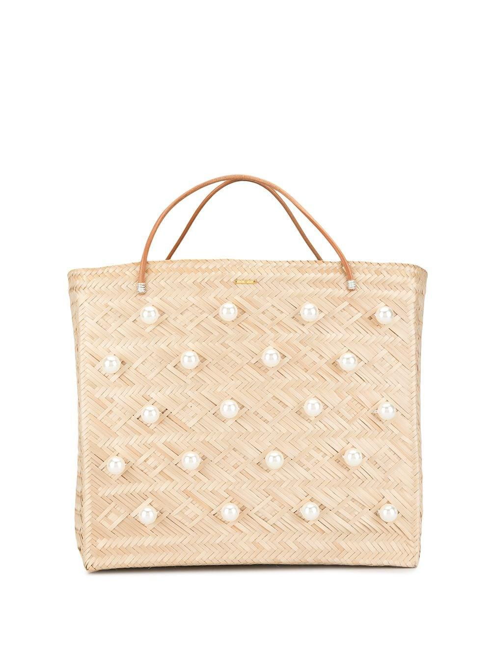 Straw Tote With Pearls Item # EG25-A