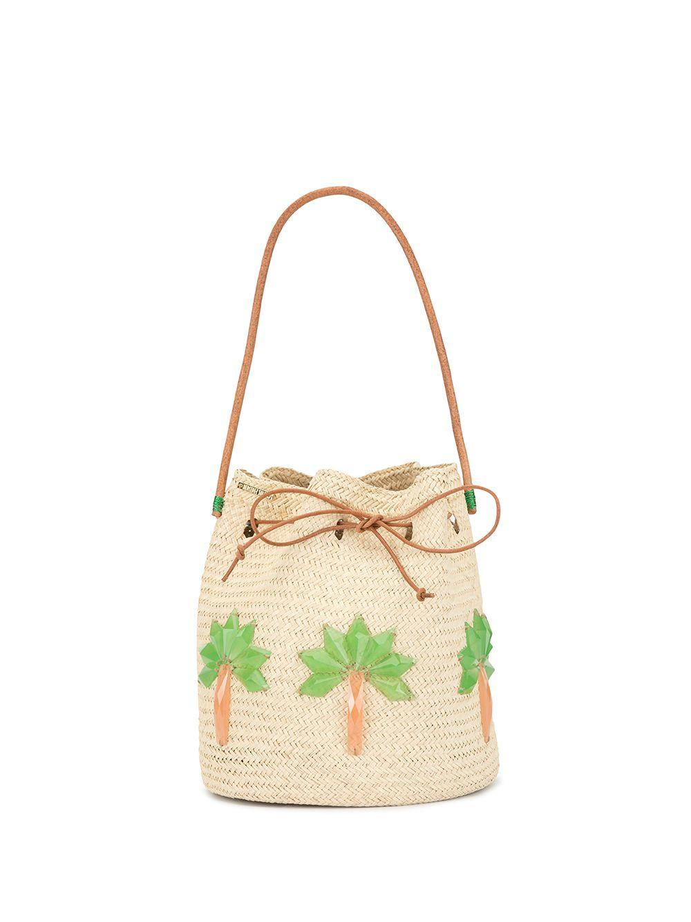 Straw Bucket With Palm Trees