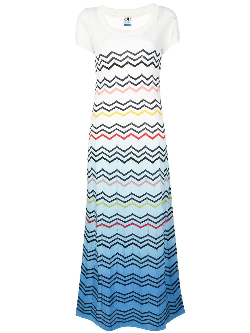 Short Sleeve Scoop Neck Zig Zag Maxi Dress