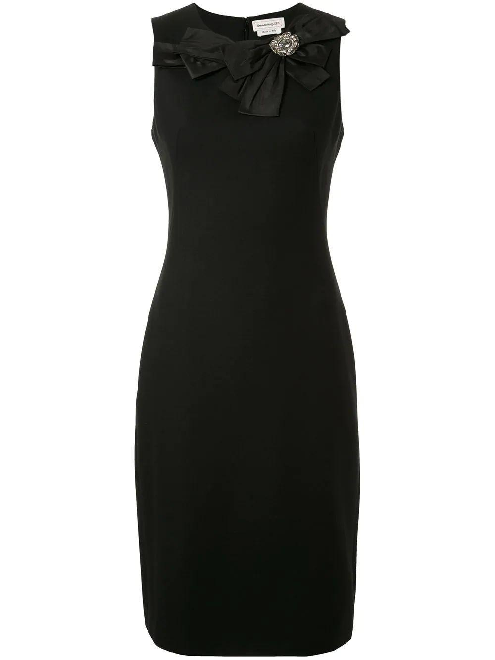 Sleeveless Light Wool Bow Pencil Dress W Item # 610374QJAAA