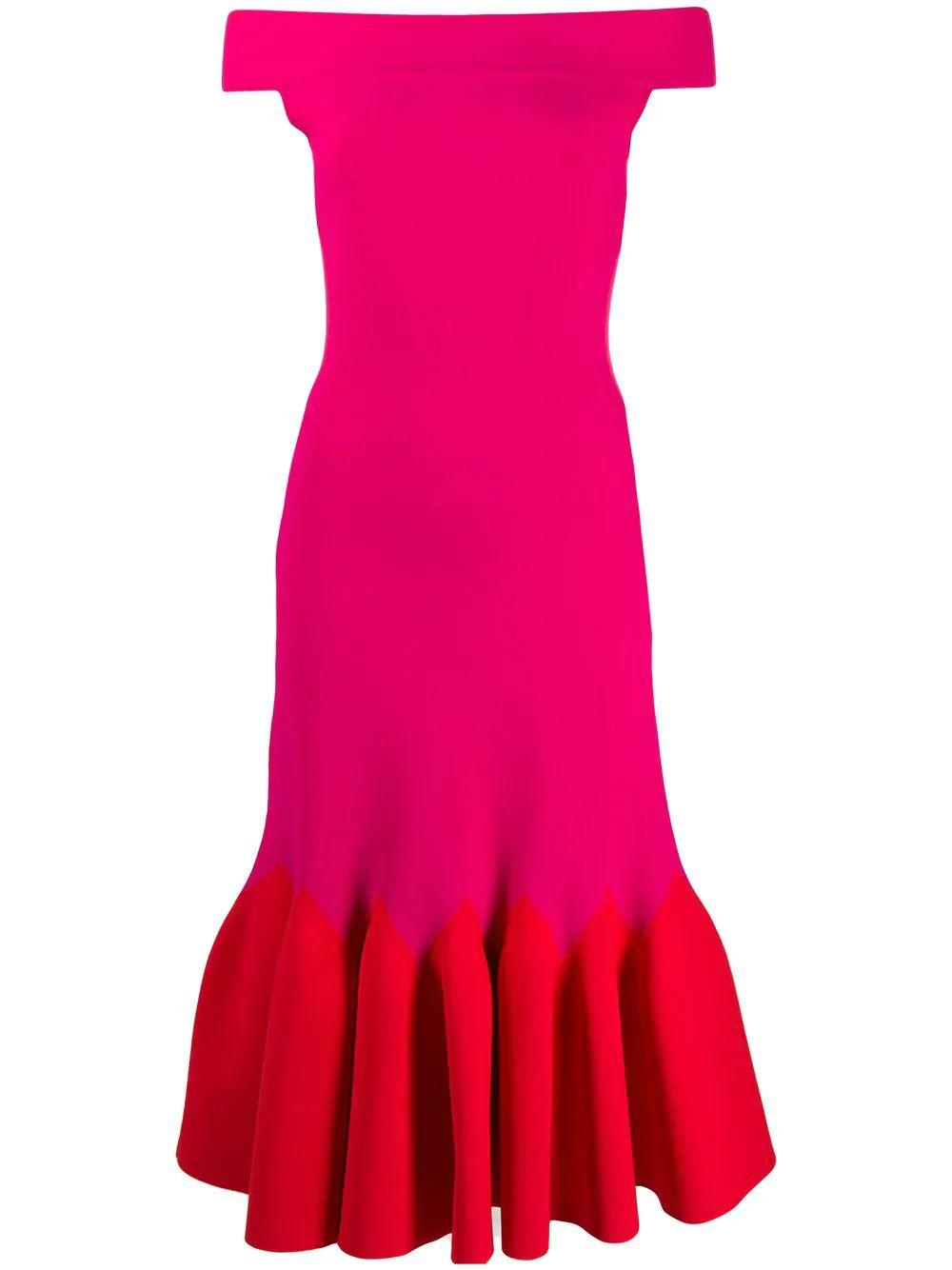 Off The Shoulder Bi-Color Sculptural Dress