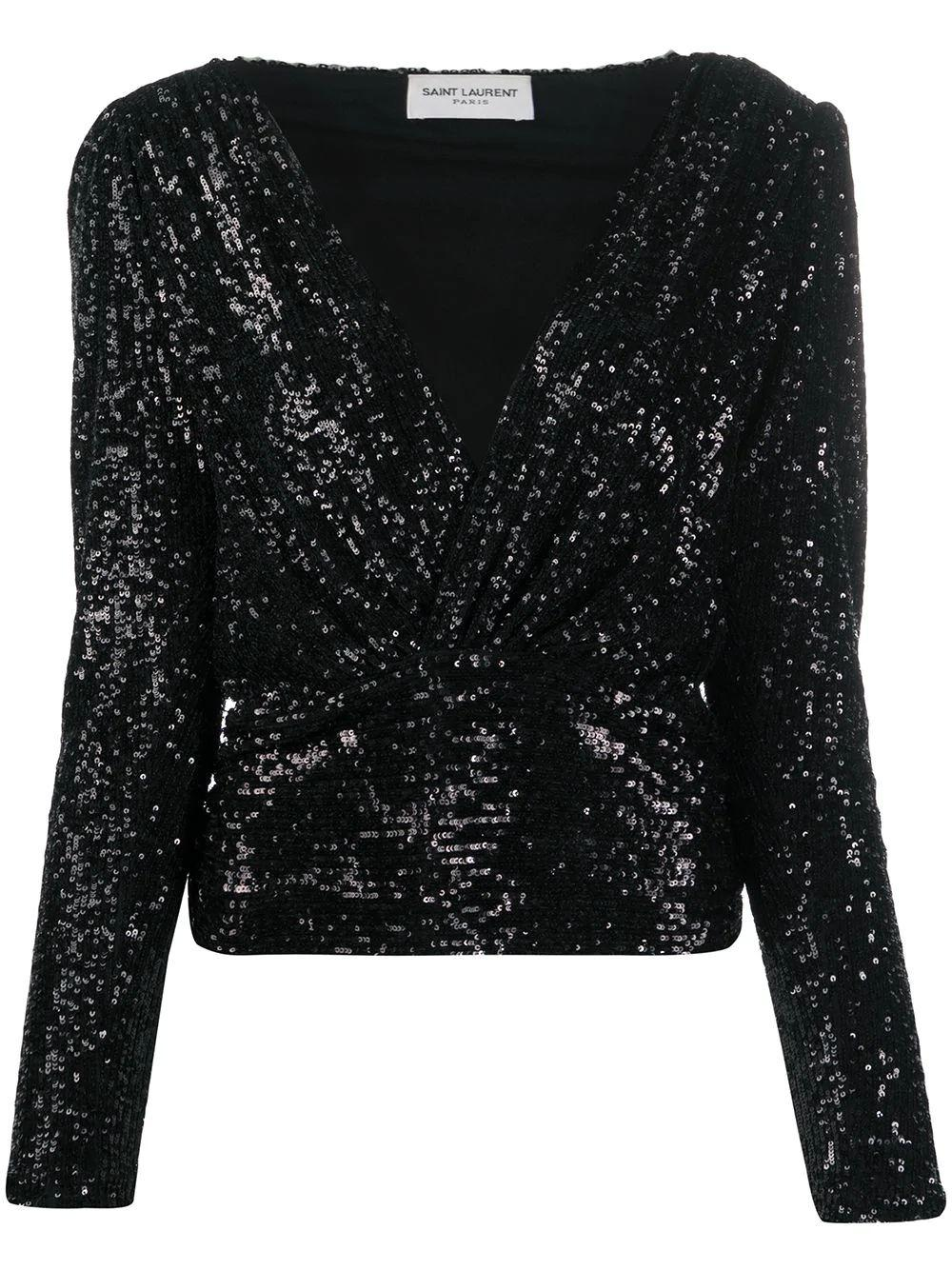 Long Sleeve Sequined Jersey Top Item # 619394YBOK2