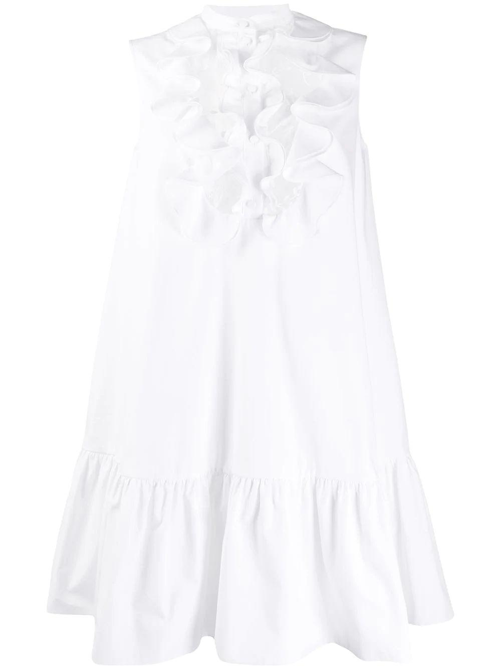 Sleeveless Cotton Poplin Dress With Ruffle