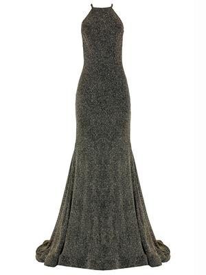 High Neck Shimmer Gown