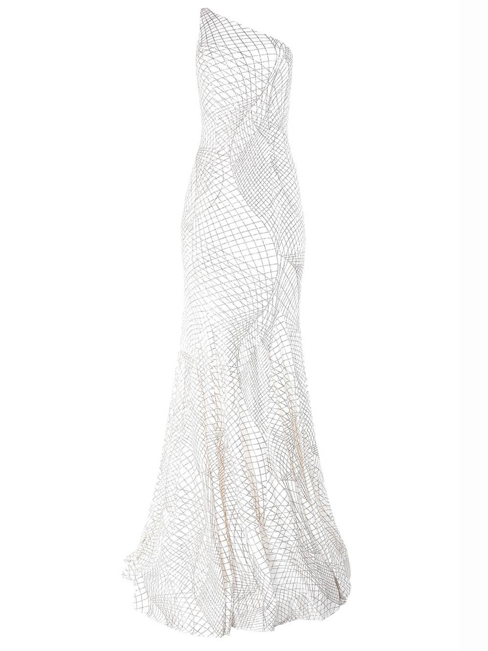 One Shoulder Beaded Gown Item # 1119-C