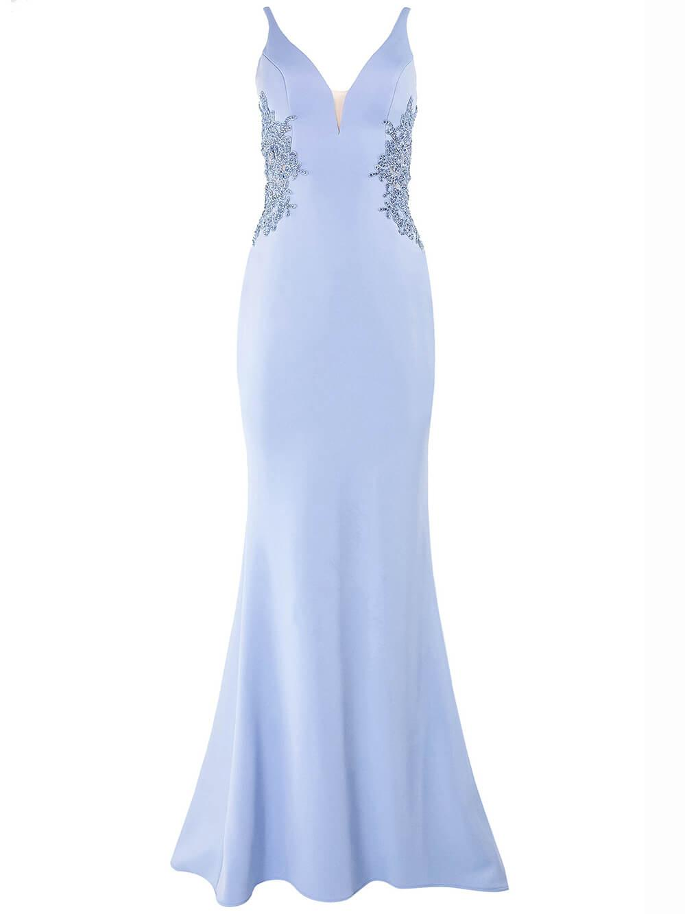 Neoprene Gown With Open Back Item # S10226