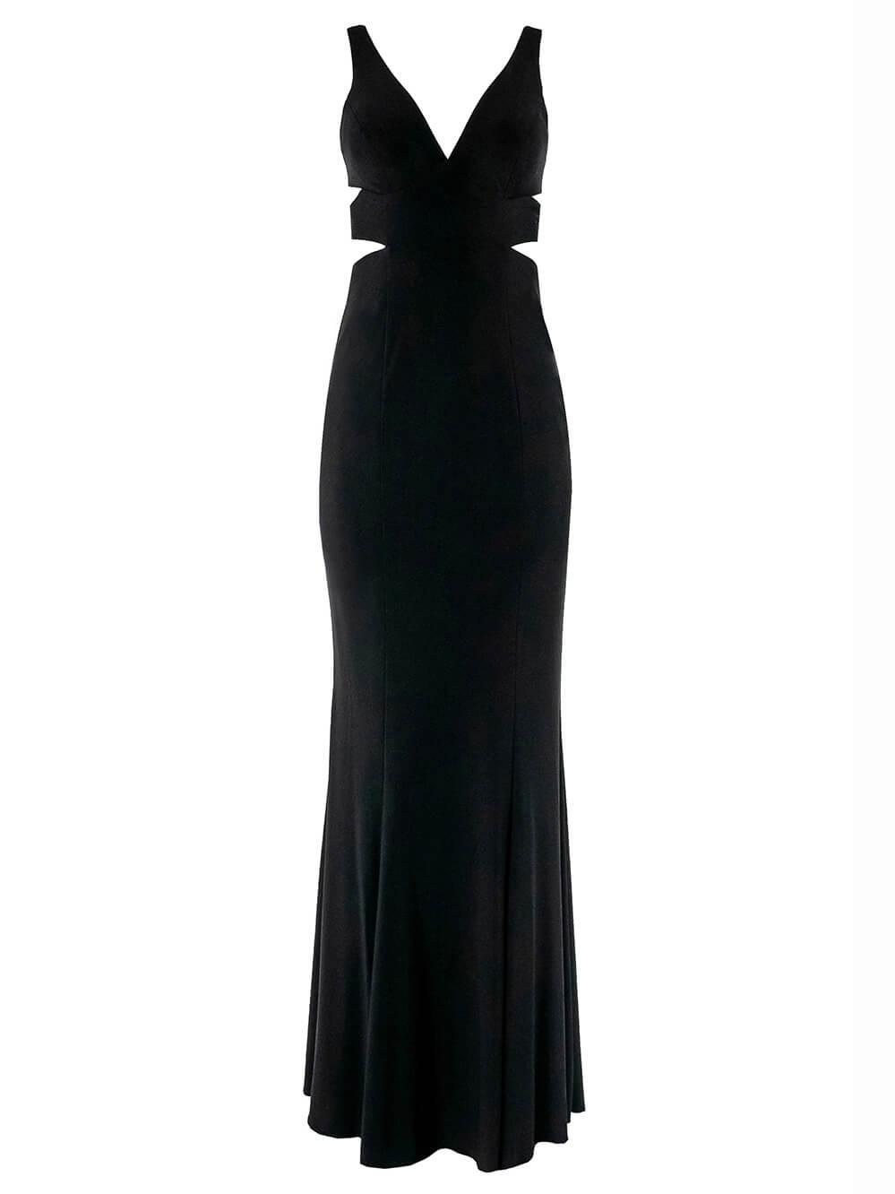 V- Neck Side Cutout Gown Item # 7541