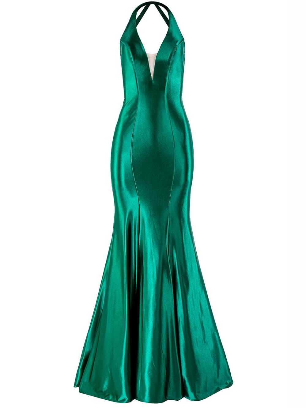 Stretch Satin V- Neck Gown Item # A10412