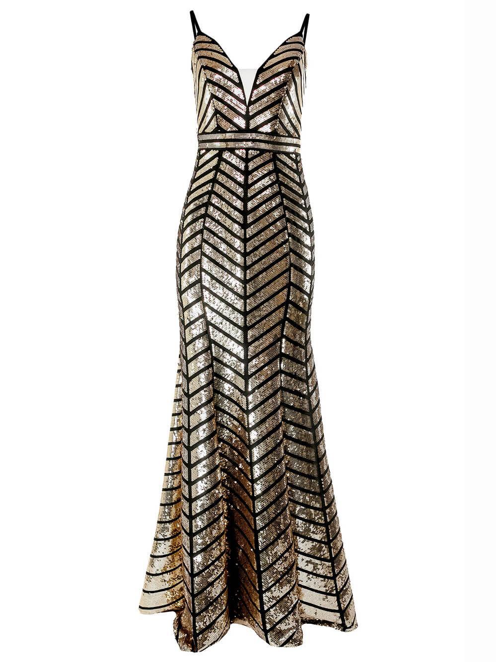 Sleeveless Sequin Chevron Print Gown Item # 2244