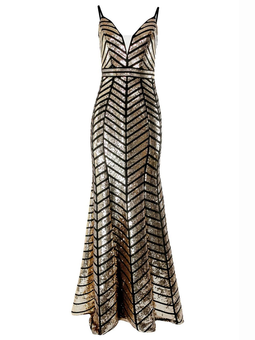 Sleeveless Sequin Chevron Print Gown