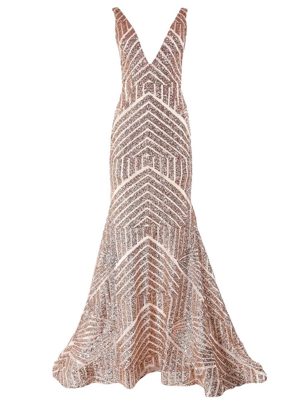Sleeveless Beaded Gown Item # 59762-S20C