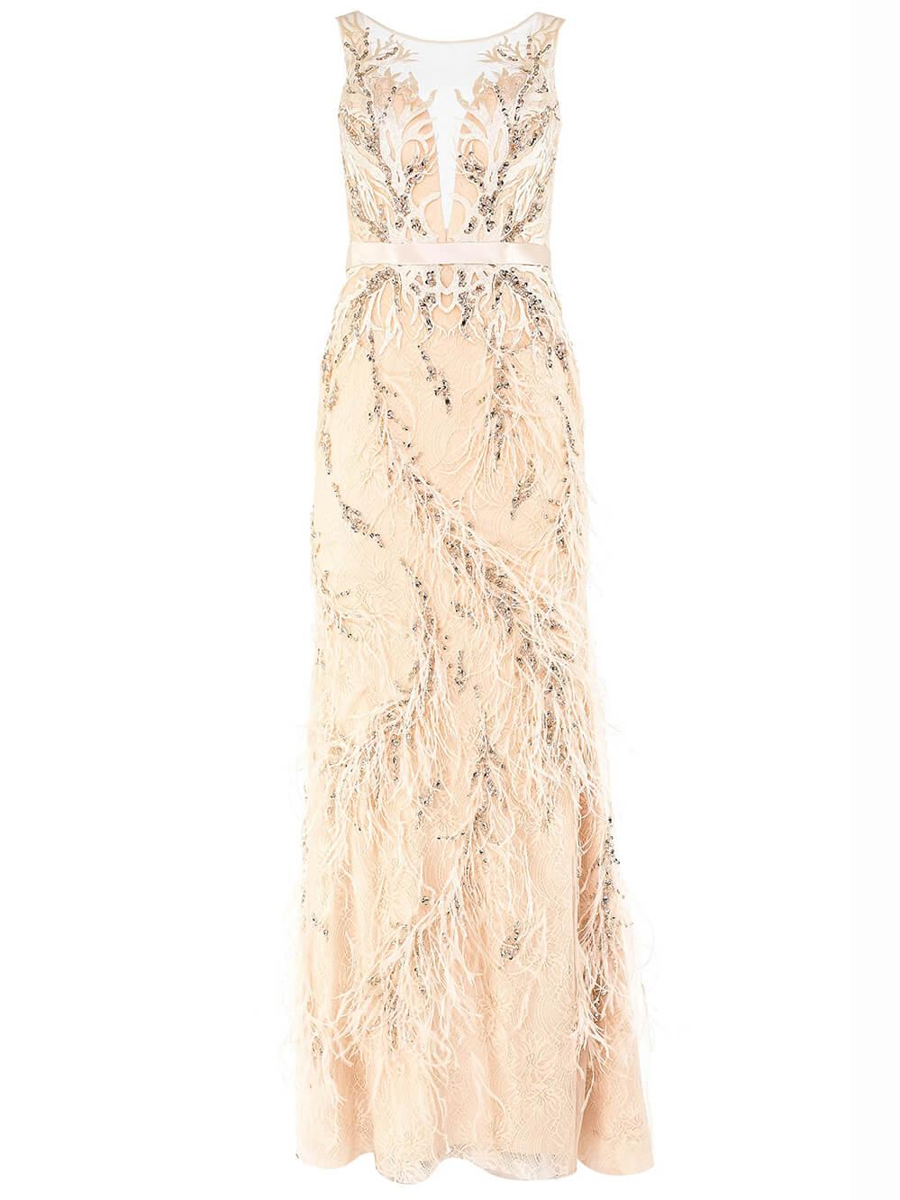 Sleeveless Beaded Feather Gown