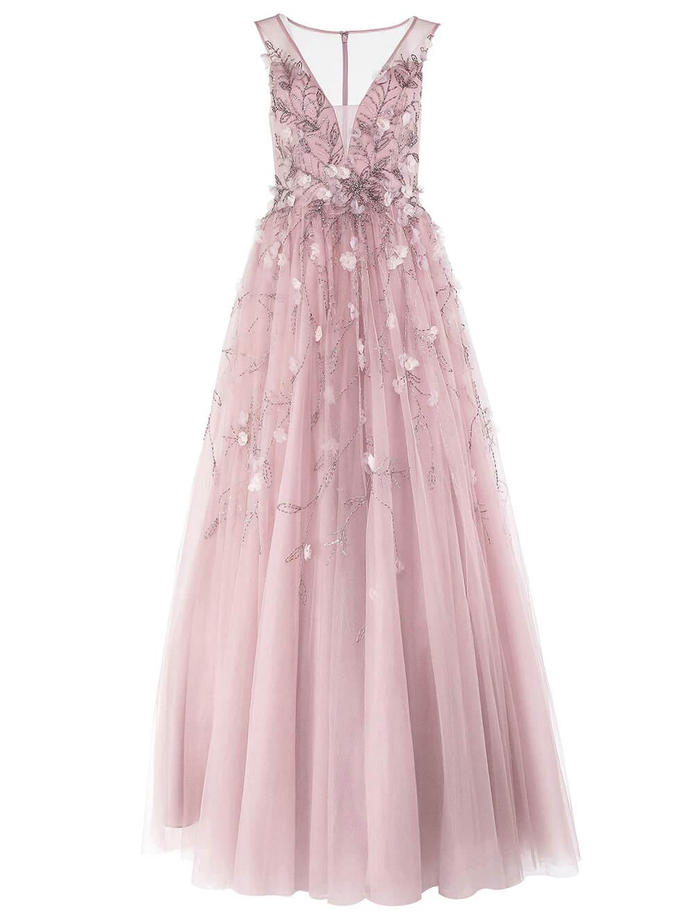 Sleeveless 3d Floral Tulle Gown Item # D9189L