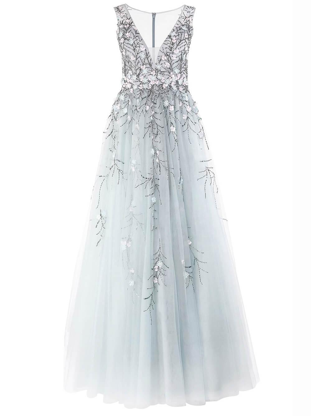 Sleeveless 3D Floral Tulle Gown