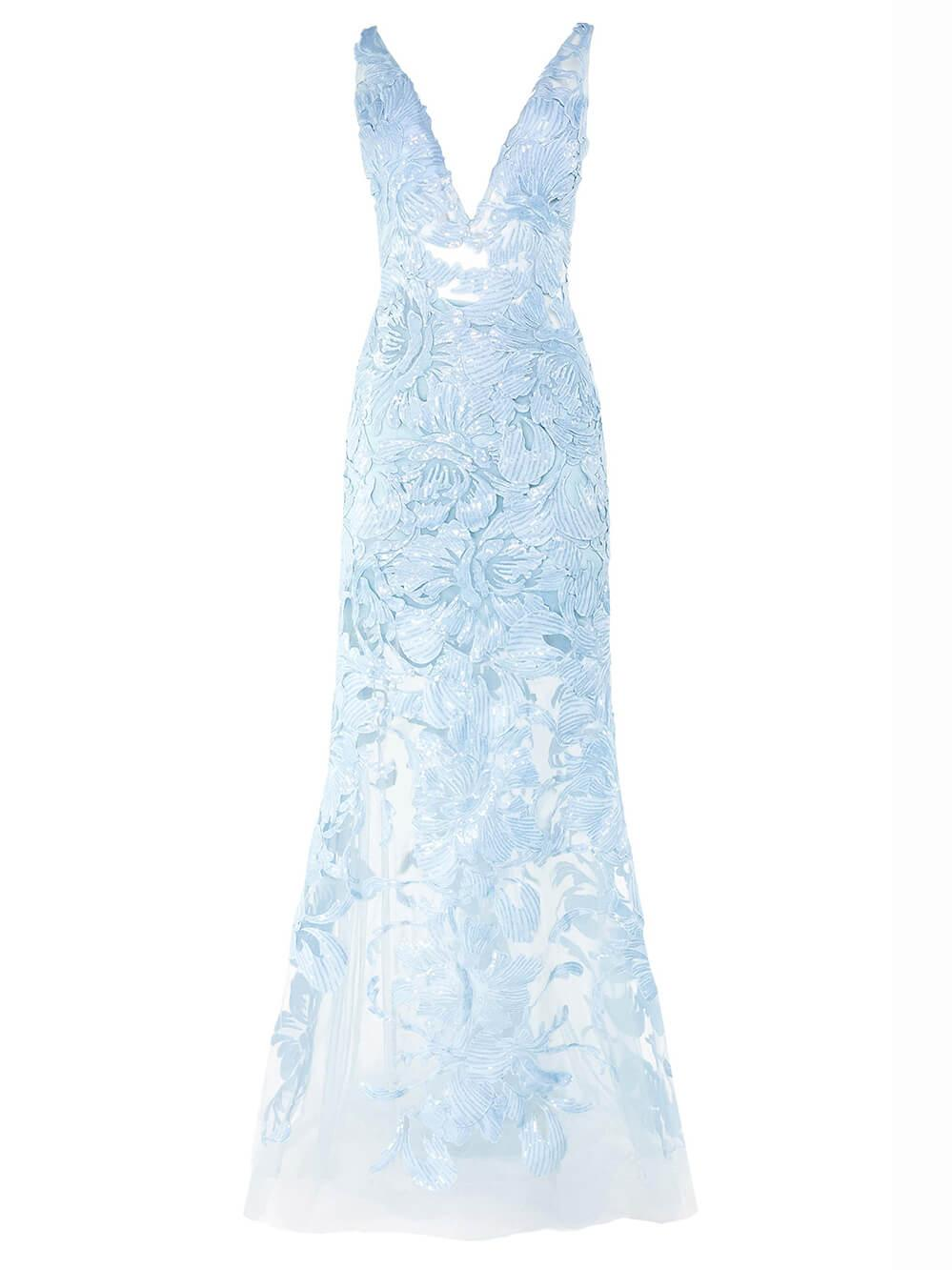 Plunge Embroidered Gown Item # 60283-C