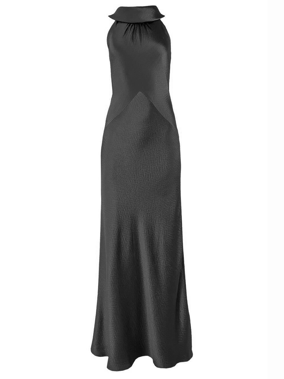 Hammered Satin Halter Gown Item # 1079