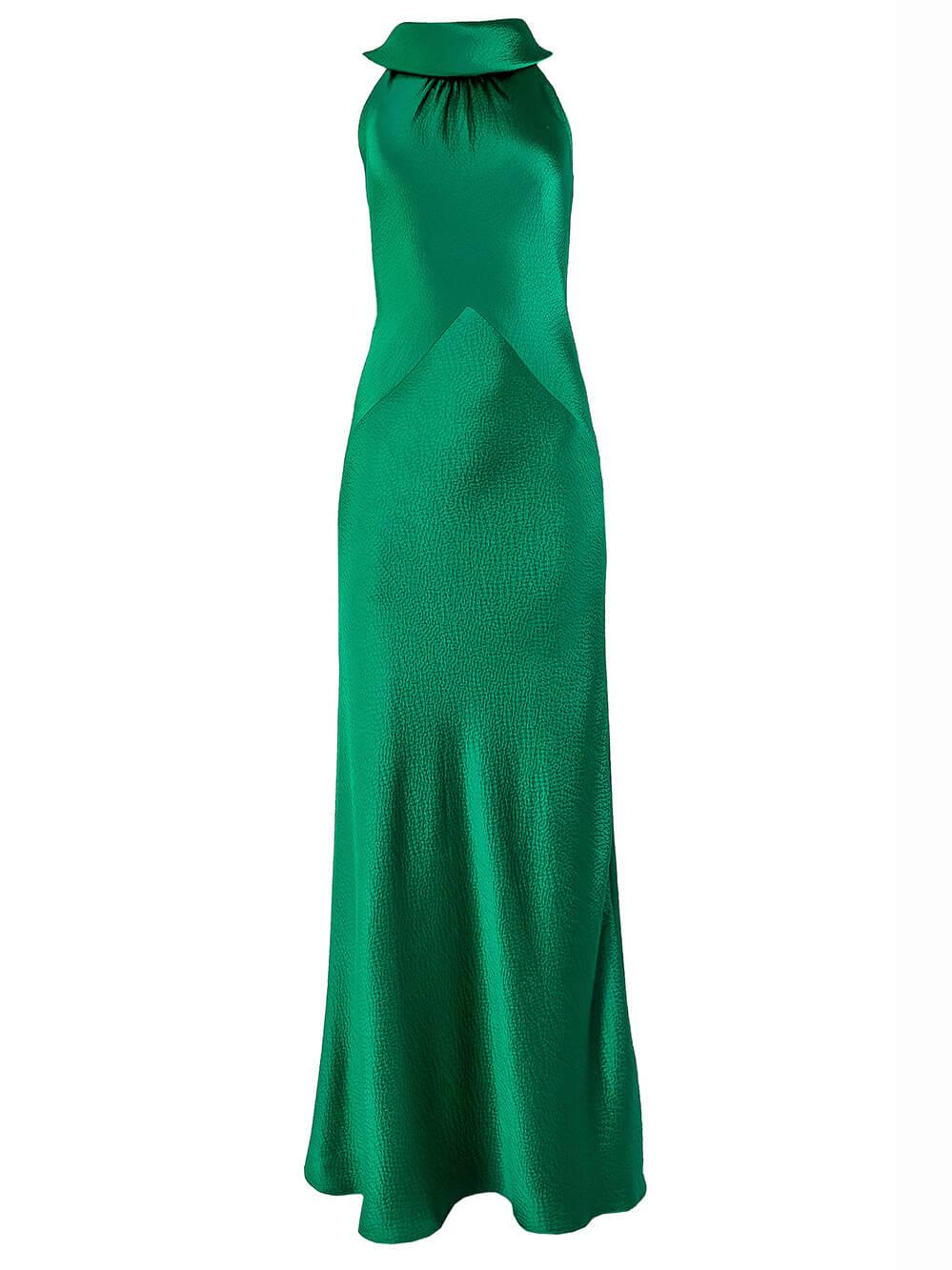 Hammered Satin Halter Gown