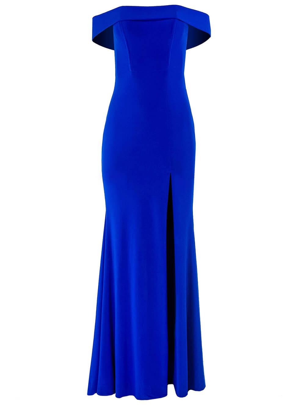 Off The Shoulder Stretch Jersey Gown Item # S10015-S20