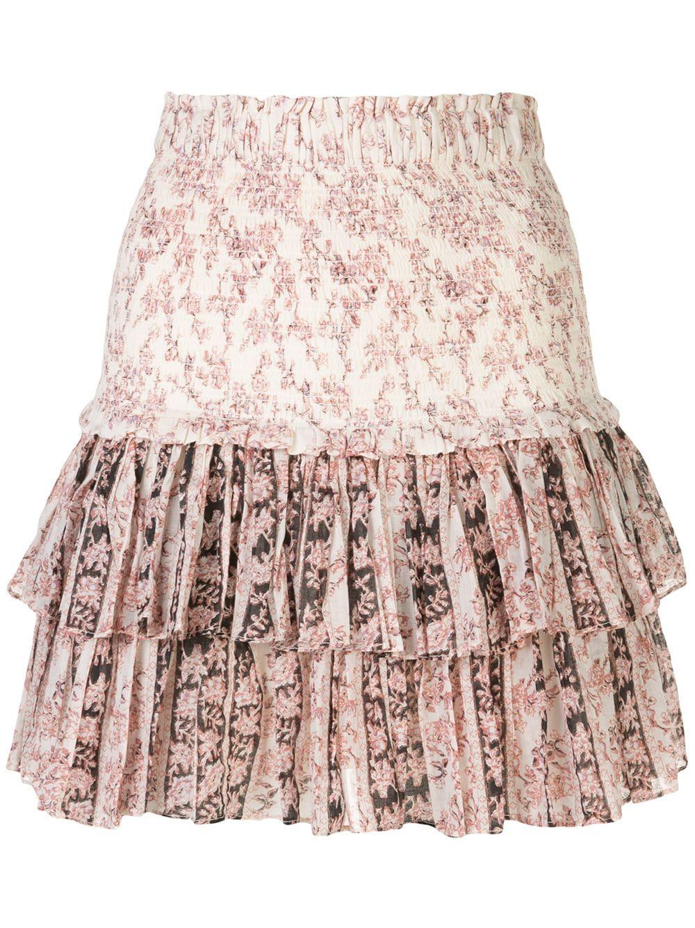 Tiered Printed Short Skirt