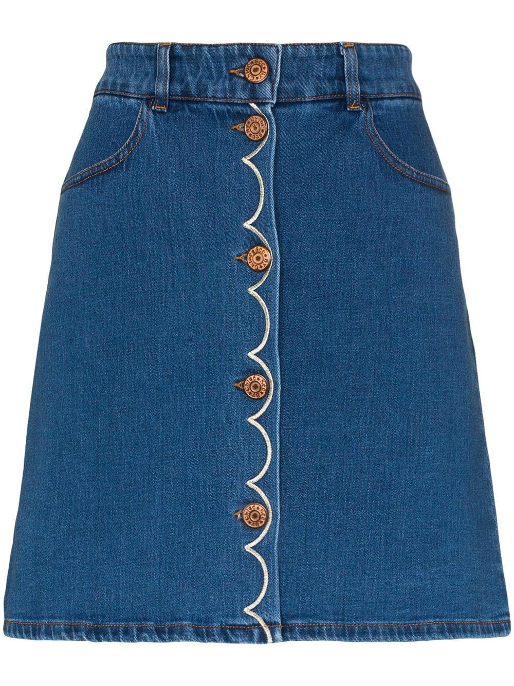 Denim Skirt With Embroideries