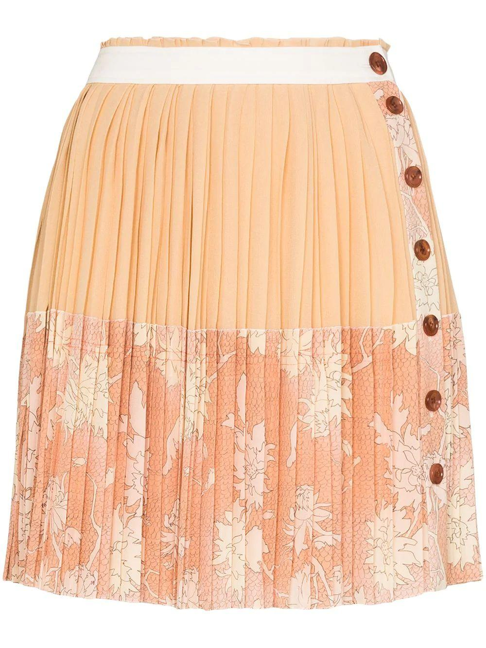 Scale Print Crepe de Chine Skirt