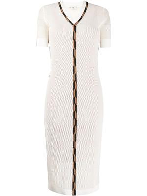 Micro Mesh V Neck Dress