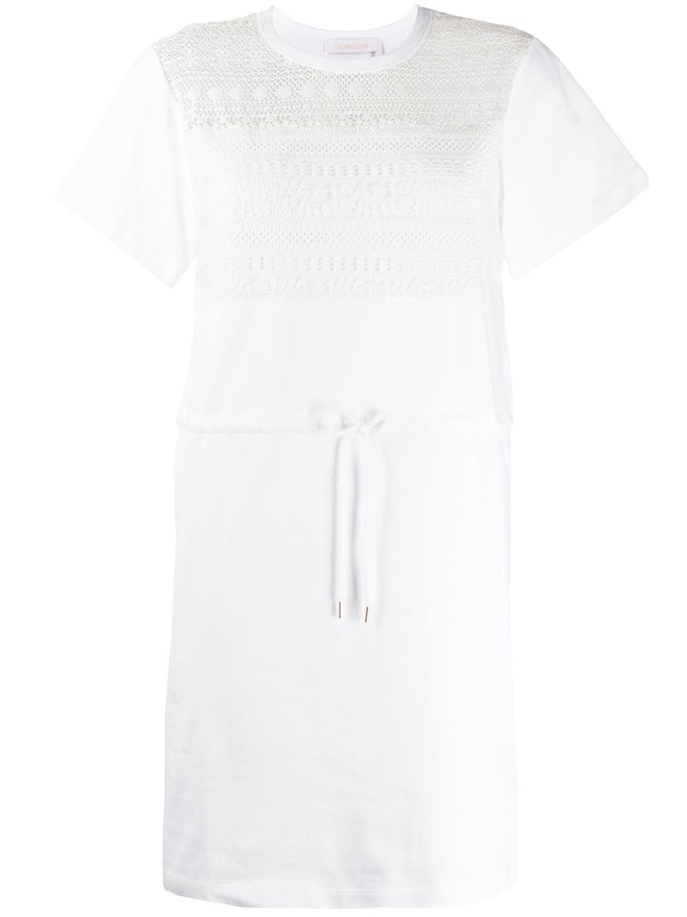 Fleece Lace Dress With Drawstring Belt Item # CHS20SJR34097