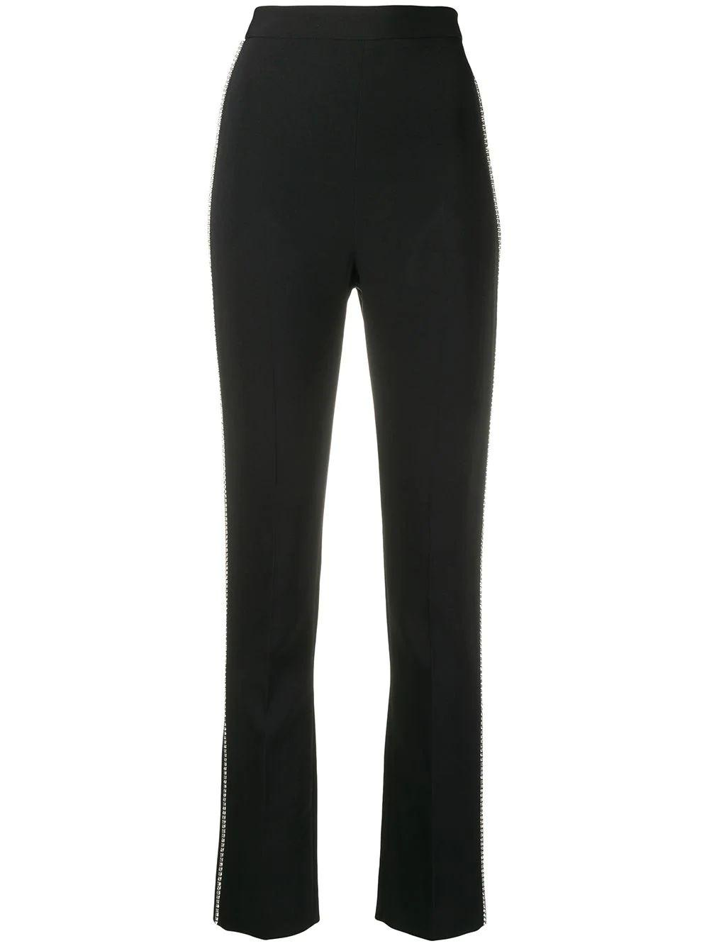 Crystal Chain Side Embellished Slim Leg Trouser Item # DK45TR