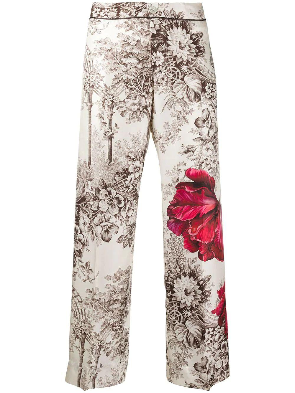 Flower Printed Piped Pants