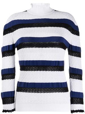 Long Sleeve Stripe Cloque Knit Top
