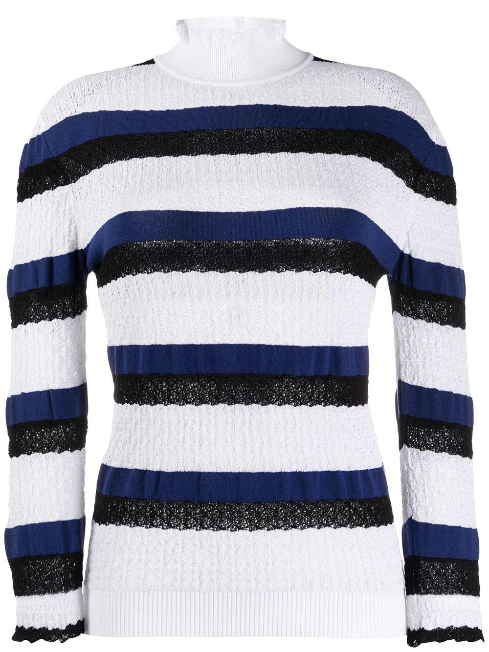 Long Sleeve Stripe Cloque Knit Top