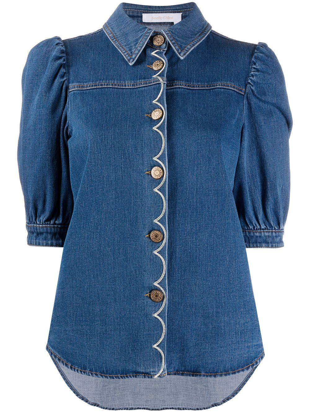 Elbow Sleeve Denim Top